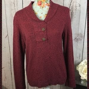 Christopher and Banks burgundy sweater SP